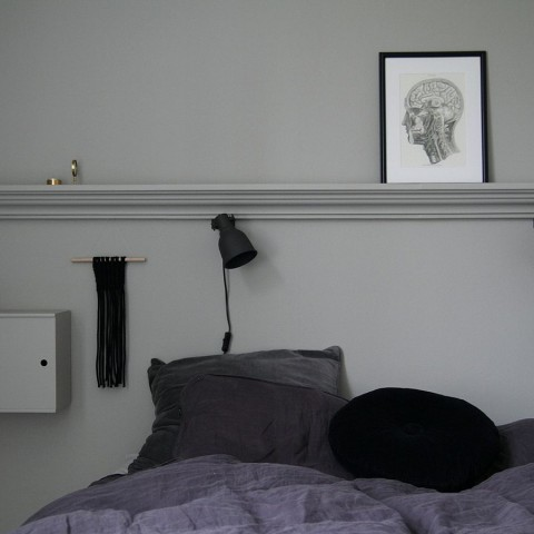 Ideas for the bedroom: paint the walls and nightstand in matching shades